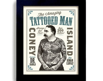 Tattoo Man Bar Art Illustrated Ink Design Sideshow Art Circus Poster Tattoo Parlor Vintage Style Rockabilly