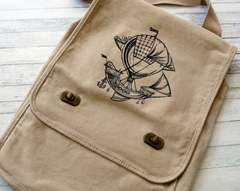 Steampunk Airship embroidered canvas field bag Dirigible