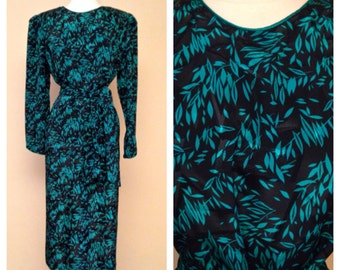 Vintage 80s Does 40s 50s Black and Teal Cocktail Dress Long Sleeves Knee Length Rockabilly Pinup Formal Party Dress Size X Large