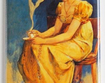 Woman Drinking Coffee Fridge Magnet