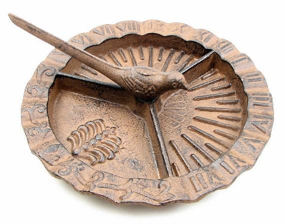 Sundial Garden Yard Art Cast Iron Bird Style Roman Numeral Sun
