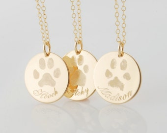 Actual pet paw or nose print personalized pendant necklace • sterling silver, 14k yellow or rose gold filled dog or cat • pet memorial