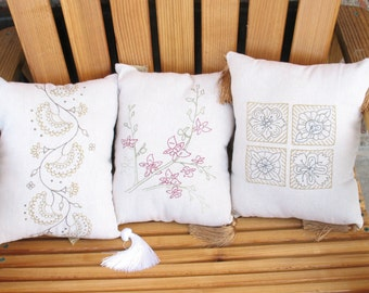 Set of Three Linen Embroidered Pillows with Tassles
