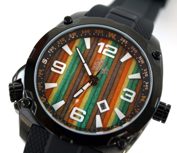 Unique gifts for men Recycled Skateboard Watch by SecondShot