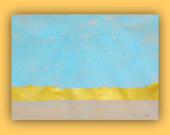 Abstract painting, Large wall art, peaceful home decor, Light Blue and Gold art on canvas