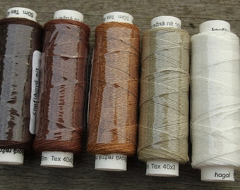 Five spools of linen thread - natural and browns colourway