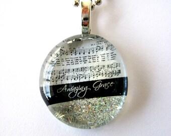 Amazing Grace, Hymn Pendant, Handmade Pendant, Music Pendant, Necklace, Christian gift,