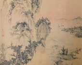 Ancient Traditional Chinese Landscape Watercolor Painting Asian Watercolor Painting