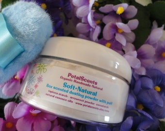 """Soft & Natural Powder """"Custom"""" Scented  - 8oz Recyclable BPA Free Jar with Boa Puff - Organic Natural Talc Free - Soft and Silky"""