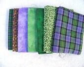Cotton Fabric, Fat Quarter Bundle, Purple and Green Checks, Plaids, Tonals, Landscape fabric supply