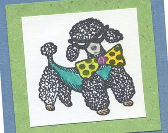 Rubber Stamp Poodle with Shades