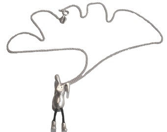 little bunny necklace, rabbit with boots, funny bunny pendant, silver bunny, easter gift, good luck bunny, sweet sixteen present, happy gift