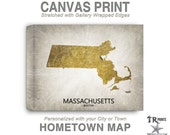 Massachusetts Map Stretched Canvas Print - Home Is Where The Heart Is Love Map - Original Personalized Map Print on Canvas