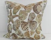 Seashell Decorative Pillow Cover, Starfish Cushion Cover, Beach Pillow, 16 x 16