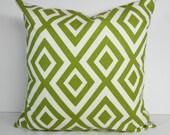 Green Geometric Designer Pillow Cover, Richloom Fabrics, Green Cushion Cover, 18 x 18, 20 x 20, Kiwi Green