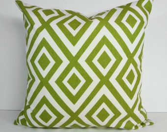 Green Geometric Designer Pillow Cover, Richloom Fabrics, Green Cushion Cover, 18 x 18, 20 x 20, Kiwi Green