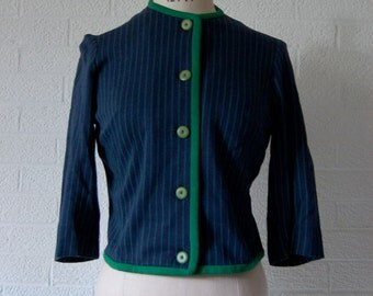 Vintage Craig Craely Blue and Green Striped with Green Piping Button Down Cardigan Light Jacket S/M/9