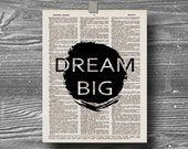 book page dictionary art print poster dream big quote typography inspirational motivational home decor 8x10