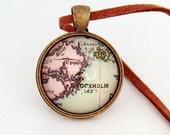 Custom Vintage Map Necklace - Stockholm, Sweden -Vintage Map Series