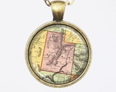 Utah, Personalized Map Necklace- Old Map of Utah in 1897, Antique Map Series