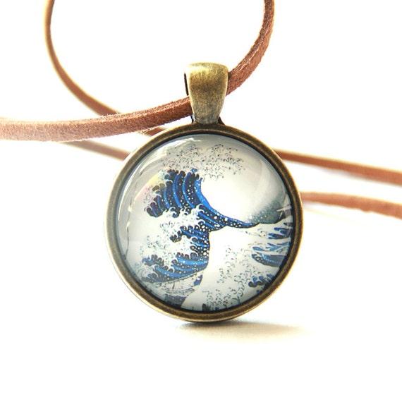 Hokusai Wave Necklace, Retro Graphic Necklace, Japanese Classic Picture Necklace