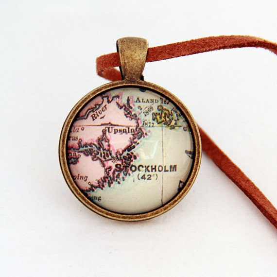 Custom Vintage Map Necklace - Stockholm, Sweden -Vintage Map Series