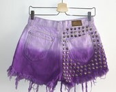 Denim Cutoff Shorts - Purple Ombre, Studded and Frayed Purple Ombre Denim Shorts