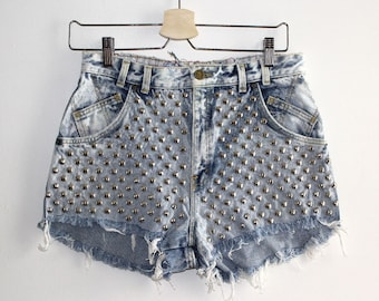 Denim Cutoff Shorts - High Waisted, Heavily Studded on the Front and Frayed