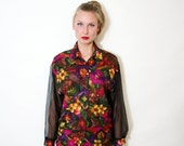 Vintage Floral Sheer Sleeve Button Up Shirt Blouse