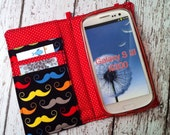 Mustache print wallet for HTC, Samsung, and Droid with removable gel case