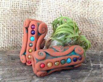 Chakra Dread Bead/ terra cotta chakra bead/chakra crystals, body balancing, rainbow, healing crystals, dread locks