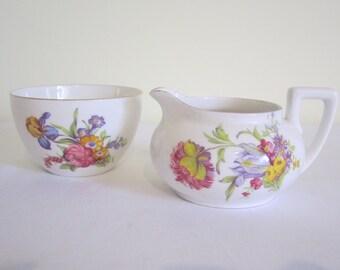VINTAGE RADFORDS Crown China sugar bowl, creamer milk jug