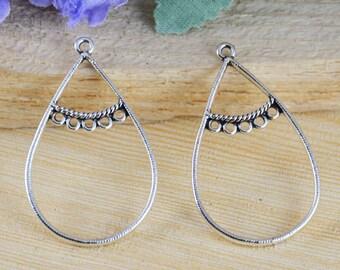 20pcs Antique Silver Tear Drop Charm Pendants Earring Findings 25x42mm AA309-3