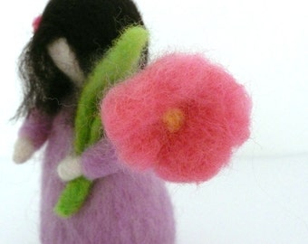 Root Children Flower Child - Lilac Girl Waldorf Doll  - Handmade Needle Felted Wool