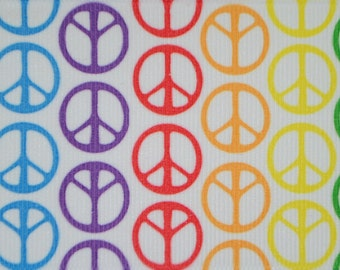 Rainbow Peace Sign Print 2.25 inch wide