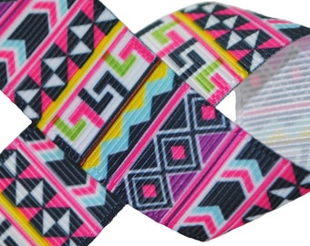 Aztec Print - Pink 7/8 inch wide - Two, Five, or Ten Yards