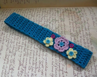 Morning Blue Crochet Headband with Crochet Flowers