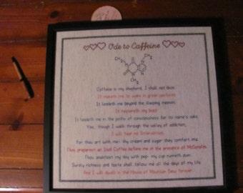 Framed Ode to Caffeine cross stitch