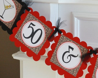 Happy Birthday Red Black Leopard 65 OR 50 & Fabulous Martini Theme Banner - Can Also Be a Bachelorette Banner - Free Ship Over 65.00
