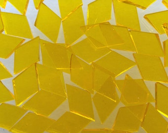 Mosaic Tiles - 100 Small Diamonds - Yellow Stained Glass - Hand-Cut