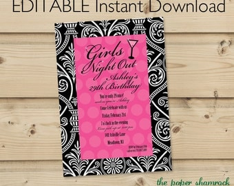 Girls Night Out Invitation Template, Bachelorette Party, Bridal Shower Invitation, Wedding Shower Invitations