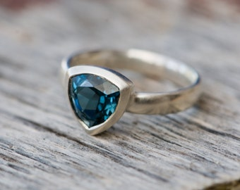 Blue Topaz Ring -  London Blue Topaz Ring - Blue Topaz Trillion Ring - Ready to Ship Blue Topaz Ring Size 9.5 - FREE SHIPPING