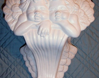 Vintage, Cherub Wall Shelf, Towel Holder, White Ceramic, Shabby Chic, Nursery, Cherub,