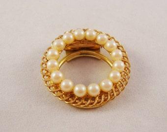 Vintage Gold & Pearl Circle Pin - Western Germany