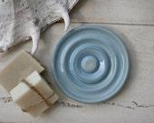 blue soap dish, handmade soap dish, ocean blue, bathroom accessories, home decor, soap tray, round soap dish, bathroom, kitchen, guest soap
