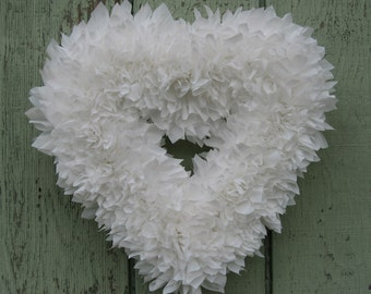 White Wreath - Wedding Wreath - Indoor Outdoor Wreath - Door Wreath - Outdoor Wreath - Bridal Wreath - Wedding Decor - Heart Wreath