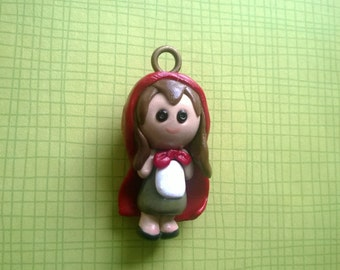 Red Riding Hood Chibi Polymer Clay Charm Cute Small Miniature Fairy Tale Keychain Gift Ooak