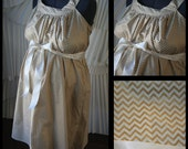 Maternity Hospital Gown- Metallic Gold with Cream Chevron (labor and delivery gown)