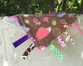 SALE Hedgehogs Tag Blanket your choice of minky color // In Stock, Ready to Ship