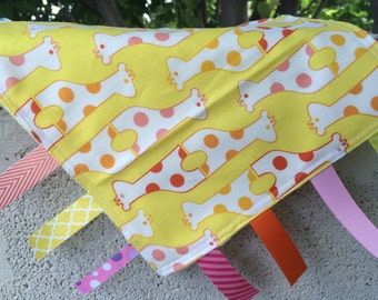SALE Topsy Turvey Giraffes on yellow Tag Blanket your choice of minky color // In Stock, Ready to Ship